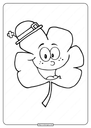 Free Printable Smiling Clover Pdf Coloring Page