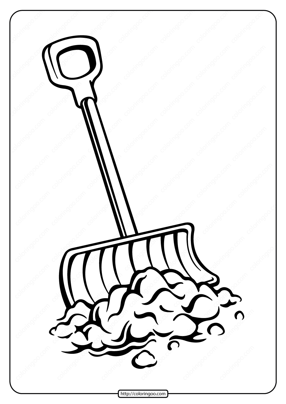 Free Printable Snow Shovel Pdf Coloring Page
