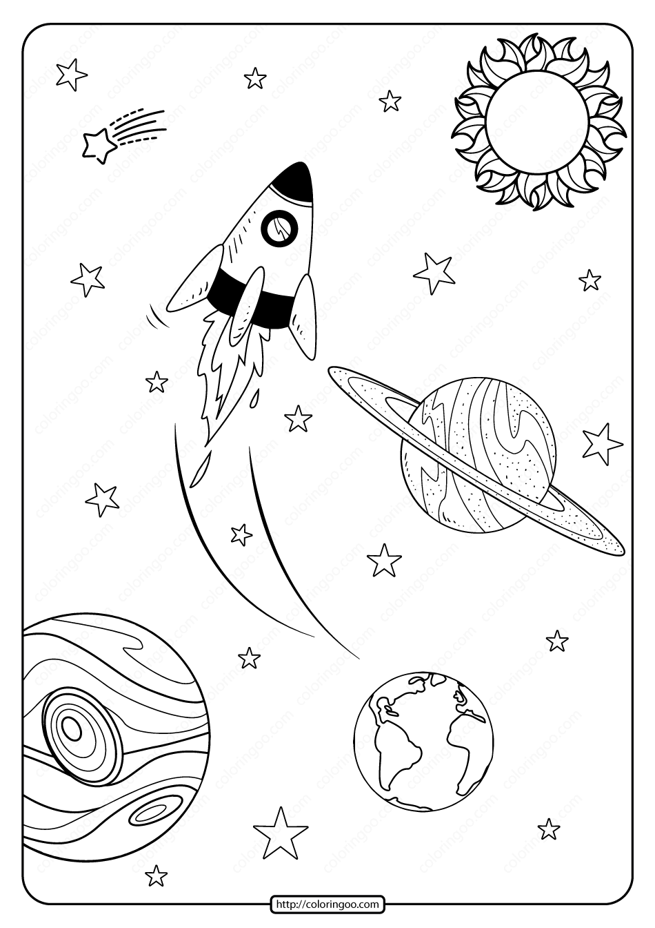 Free Printable Space Journey Pdf Coloring Page