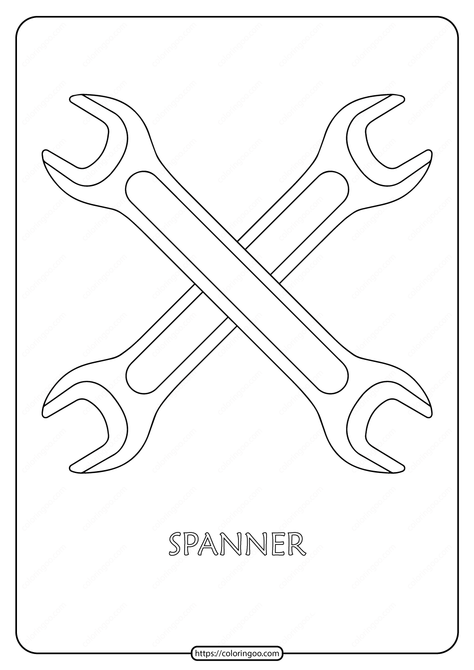 Free Printable Spanner Outline Pdf Coloring Page