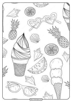 Free Printable Summer Patterns Pdf Coloring Page