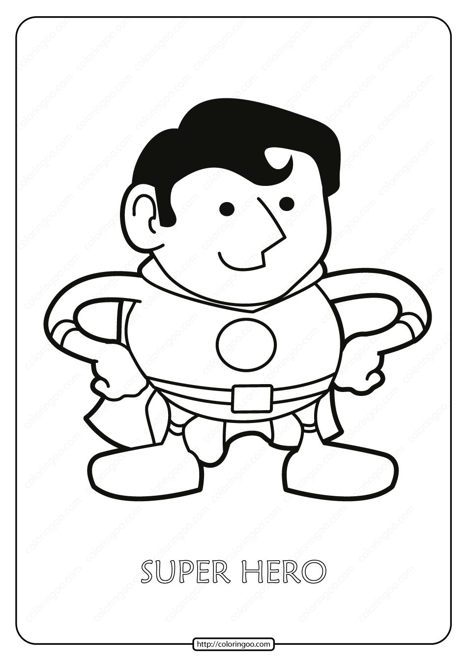 Free Printable Super Hero Pdf Coloring Page
