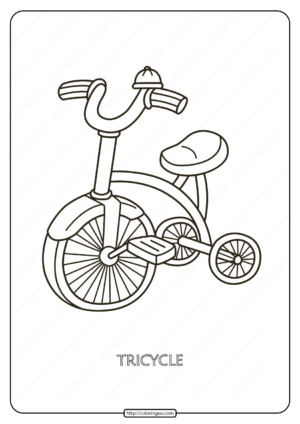 Free Printable Tricycle Pdf Coloring Page