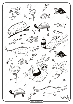Free Printable Tropical Animals Coloring Pages