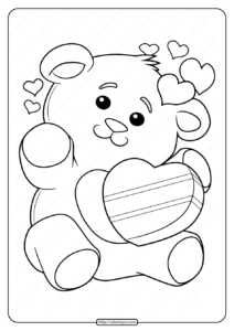 Free Printable Valentine's Day Bear Pdf Coloring Page