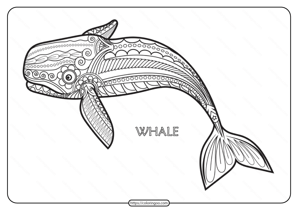 Free Printable Whale Mandala Coloring Page