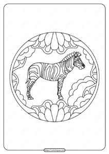 Free Printable Zebra Animals Pdf Coloring Page