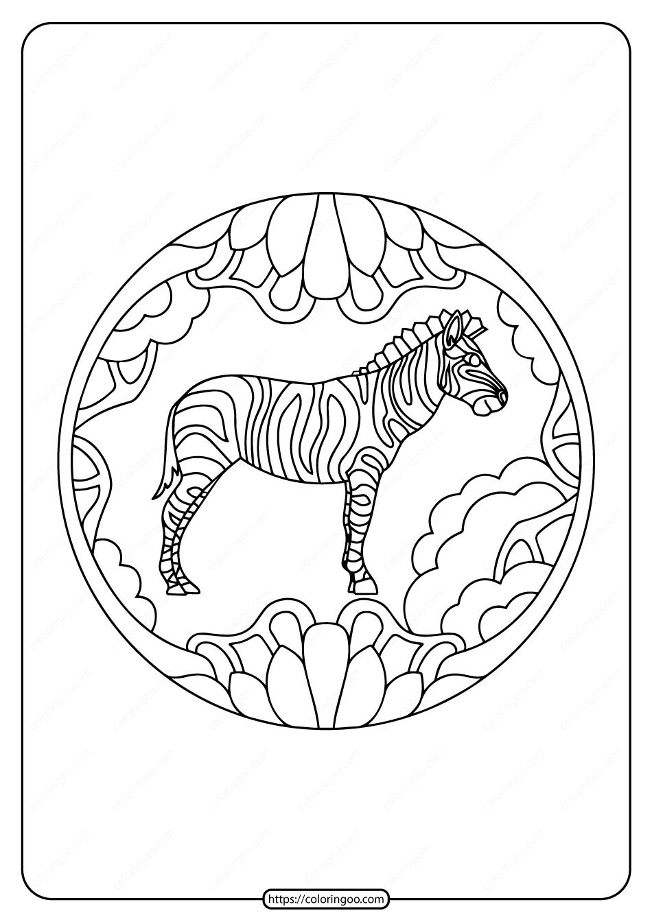Free Printable Zebra Animals Pdf Coloring Page