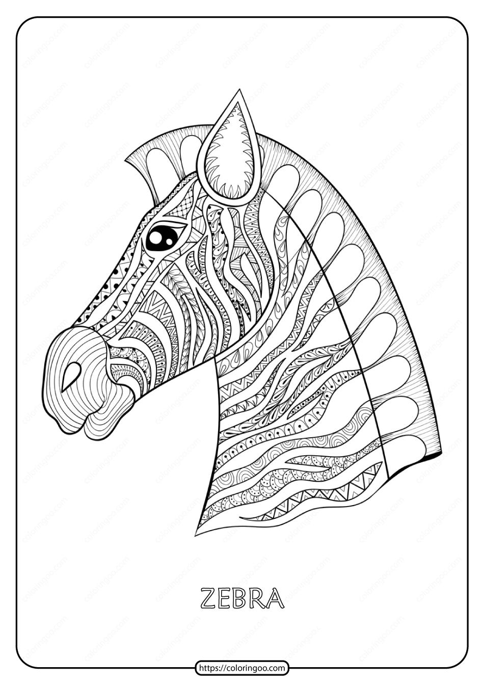 Free Printable Zebra Mandala Coloring Page