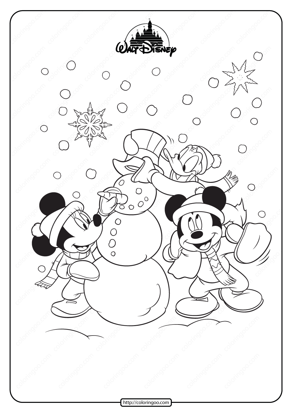Mickey Minnie Mouse and Donald Duck Coloring Page