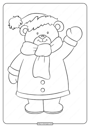 Printable a Cute Little Teddy Bear Pdf Coloring Page