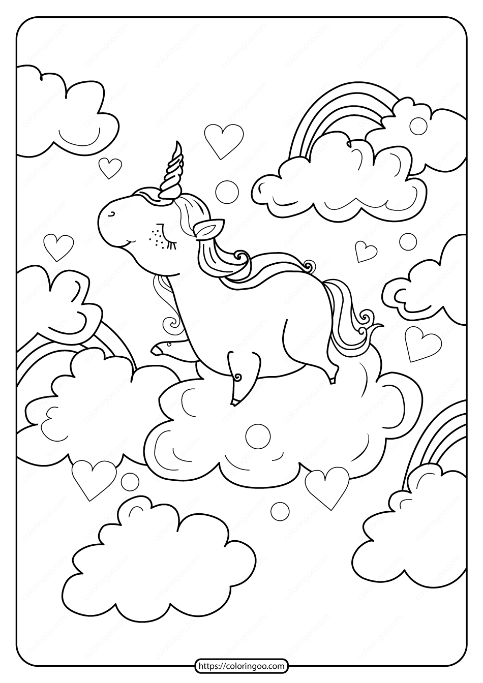 Printable A Unicorn Above The Clouds Coloring Page