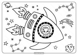 Astronaut Having Journey In The Space Coloring Page
