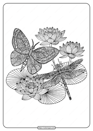 Printable Butterfly and Dragonfly Pdf Coloring Page