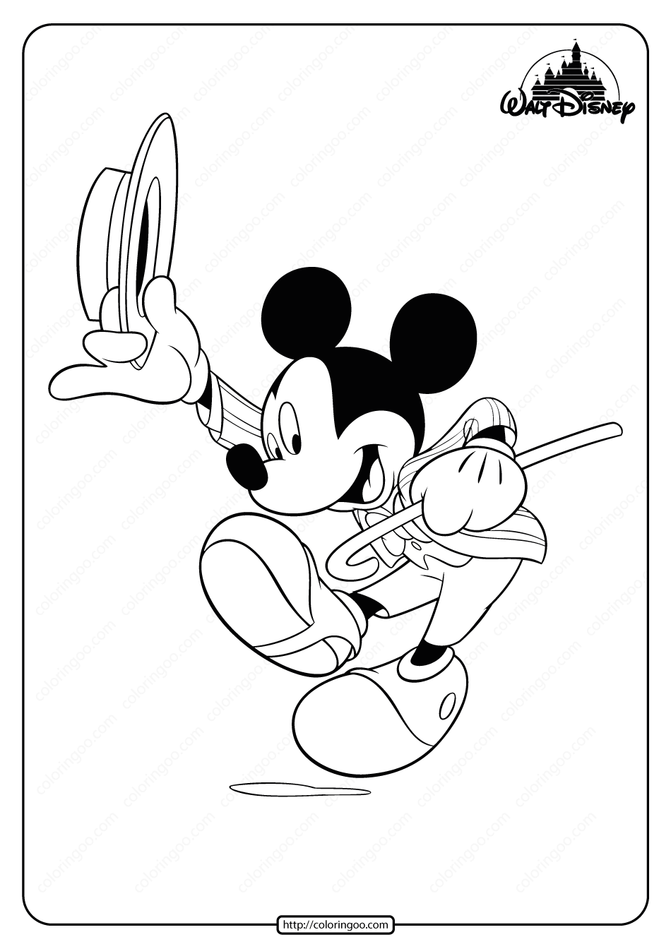 Printable Dapper Mickey Mouse Pdf Coloring Page