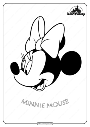 Printable Disney Minnie Mouse Head Coloring Page