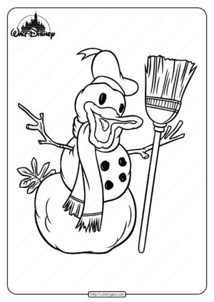 Printable Donald Duck a Snowman Coloring Page