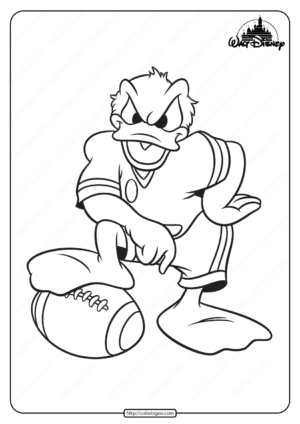 Printable Donald Duck Football Player Coloring Page