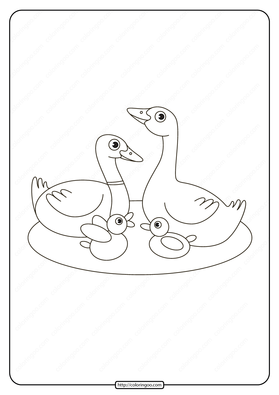 Printable Duck Family in The Lake Coloring Page