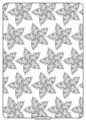 Printable Flower Geometric Pattern Coloring Page 03