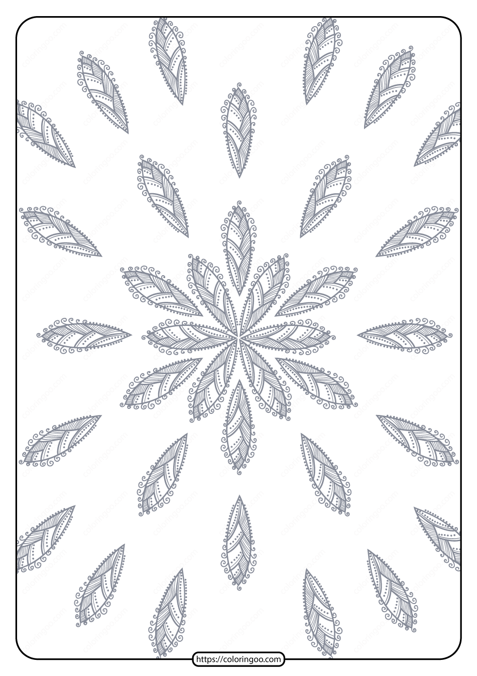 Printable Flower Geometric Pattern Coloring Page 09