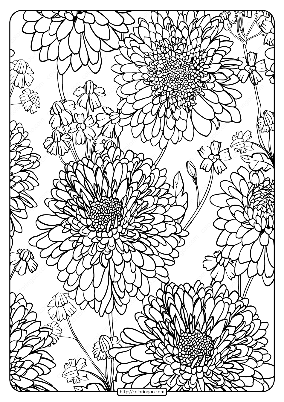Printable Flower Pattern Coloring Page 01