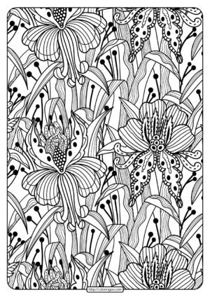 Printable Flower Pattern Coloring Page 02