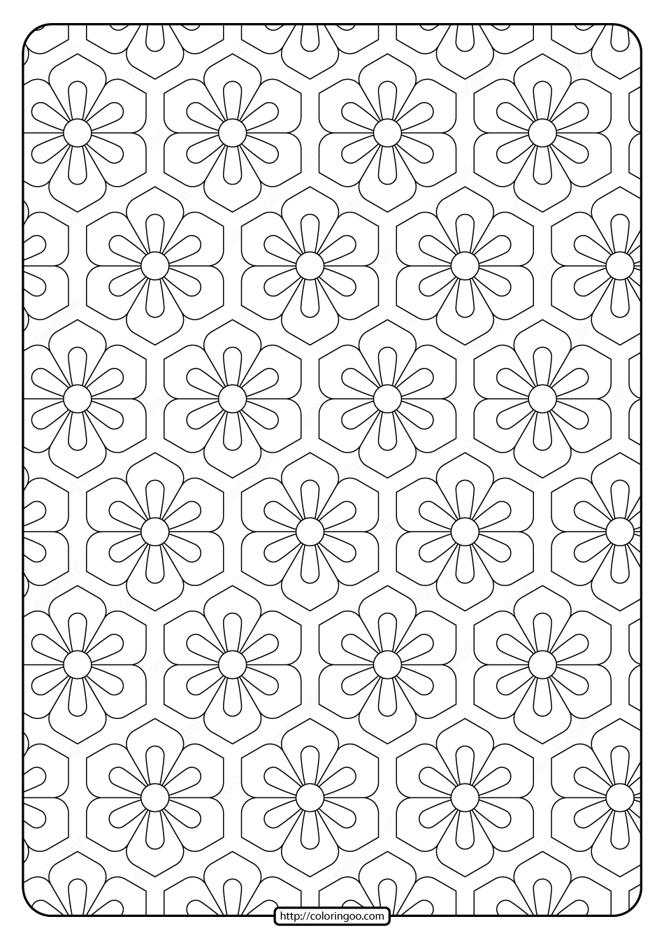 Printable Flower Geometric Pattern Coloring Page 01