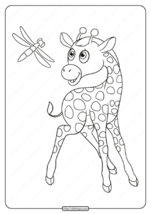 Printable Giraffe and Dragonfly Pdf Coloring Page