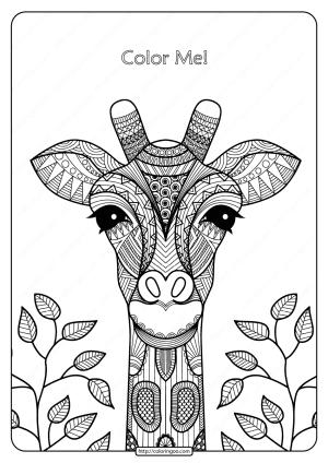 Printable Giraffe Mandala Pdf Coloring Page