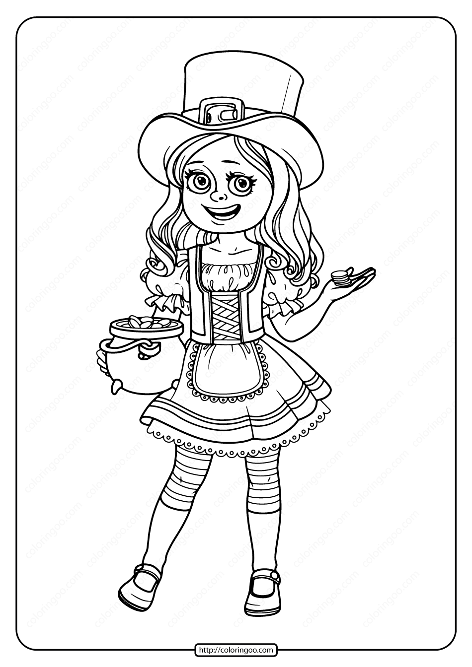 Printable Girl in St. Patrick's Day Costume Coloring Page