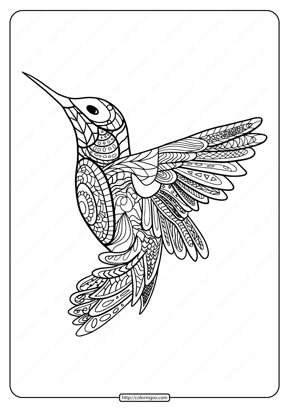 Printable Hummingbird Mandala Coloring Page