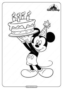 Printable Mickey Mouse Birthday Coloring Page