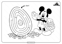 Printable Mickey Mouse Maze Game Coloring Page
