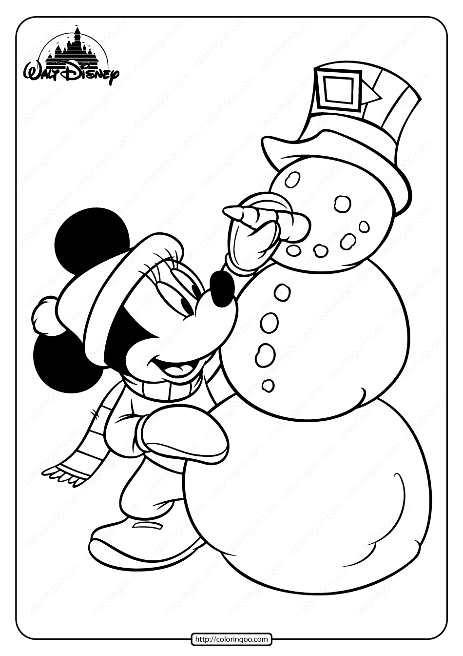 Printable Minnie Mouse Winter Fun Coloring Page