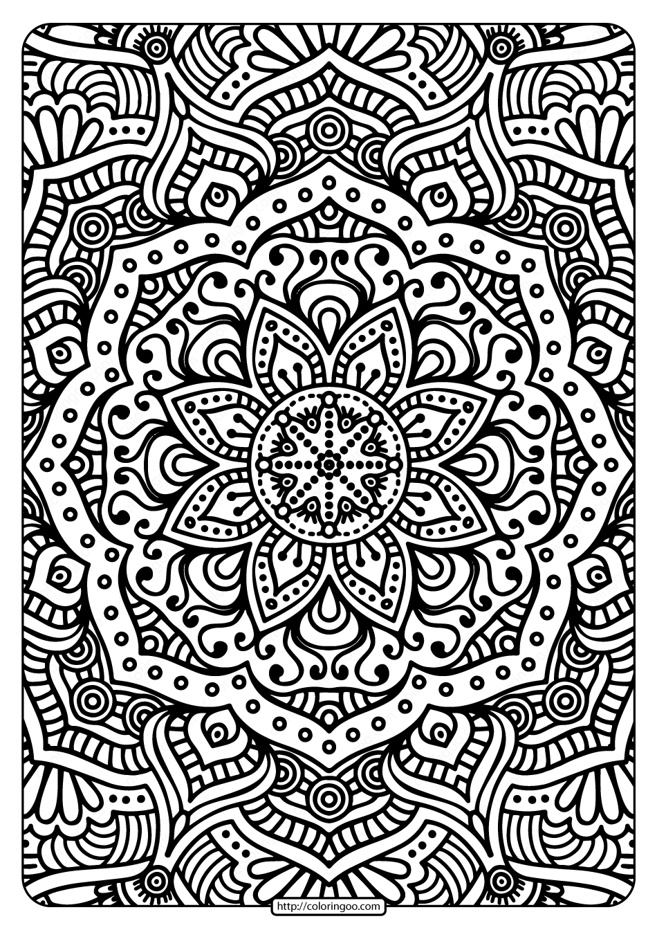 Printable Ornament Indian Flower Mandala Coloring Page