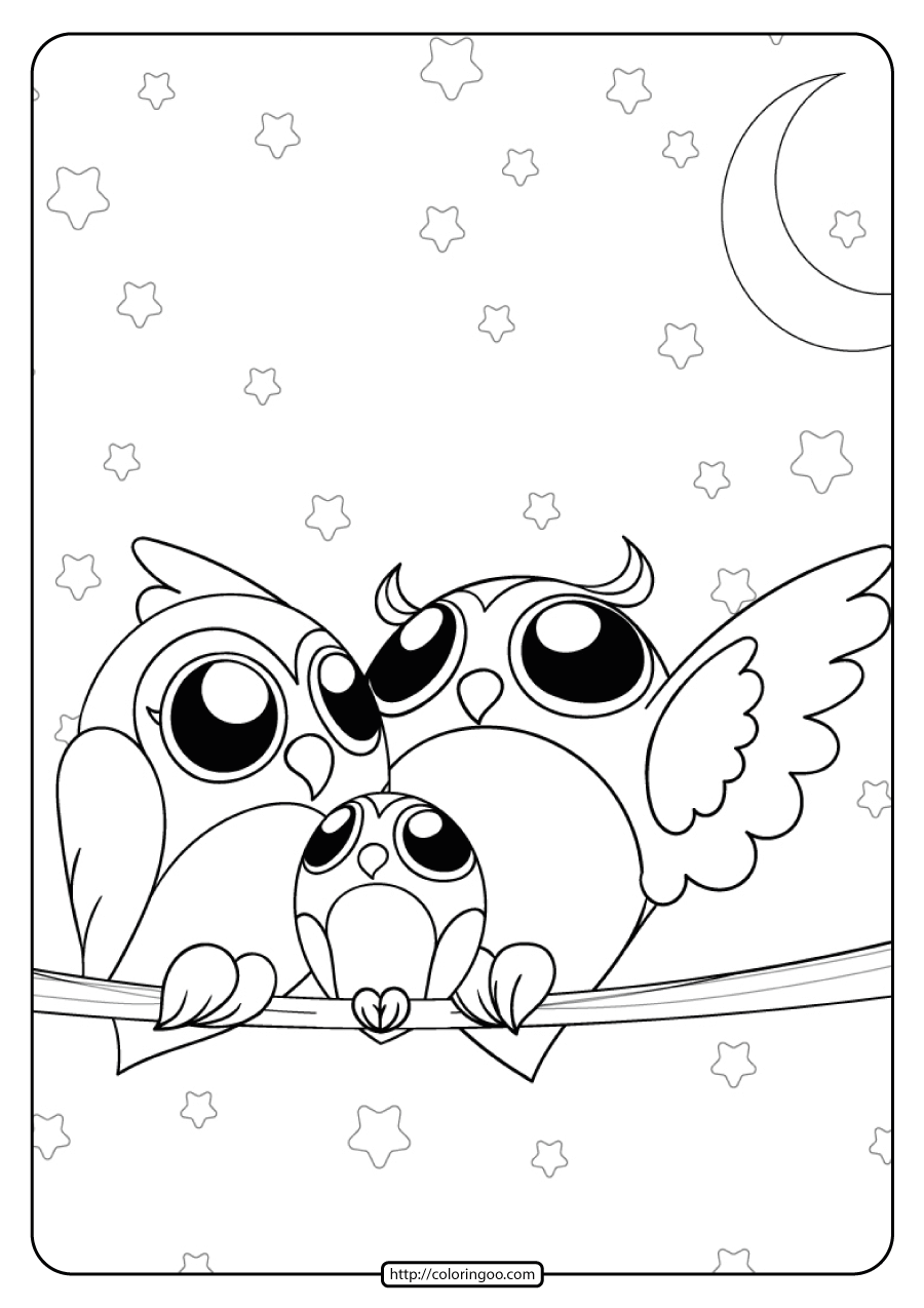 Printable Owl Family in the Night Coloring Page