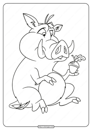 Printable Pig with an Acorn Pdf Coloring Page
