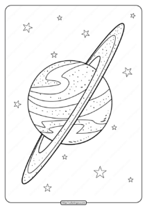 Printable Planet Saturn Doodle Pdf Coloring Page