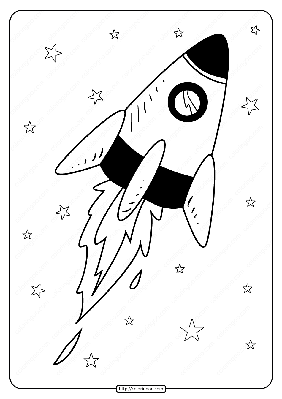 Printable Spacecraft in Space Pdf Coloring Page