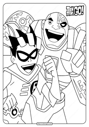 Teen Titans Go Robin and Cyborg Coloring Page