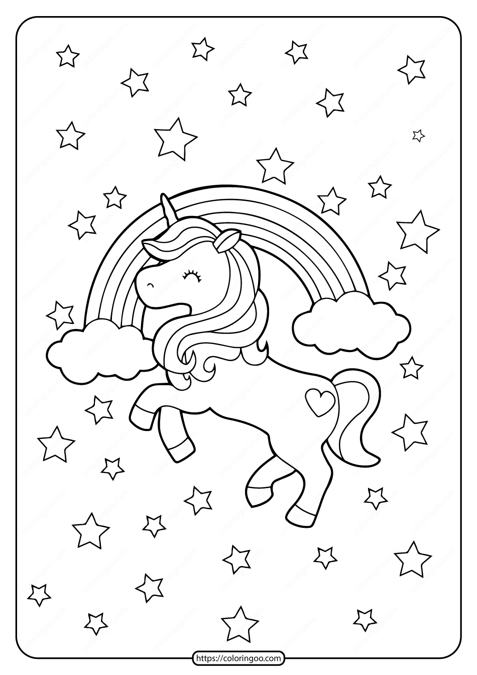 printable unicorn rainbow and stars coloring page