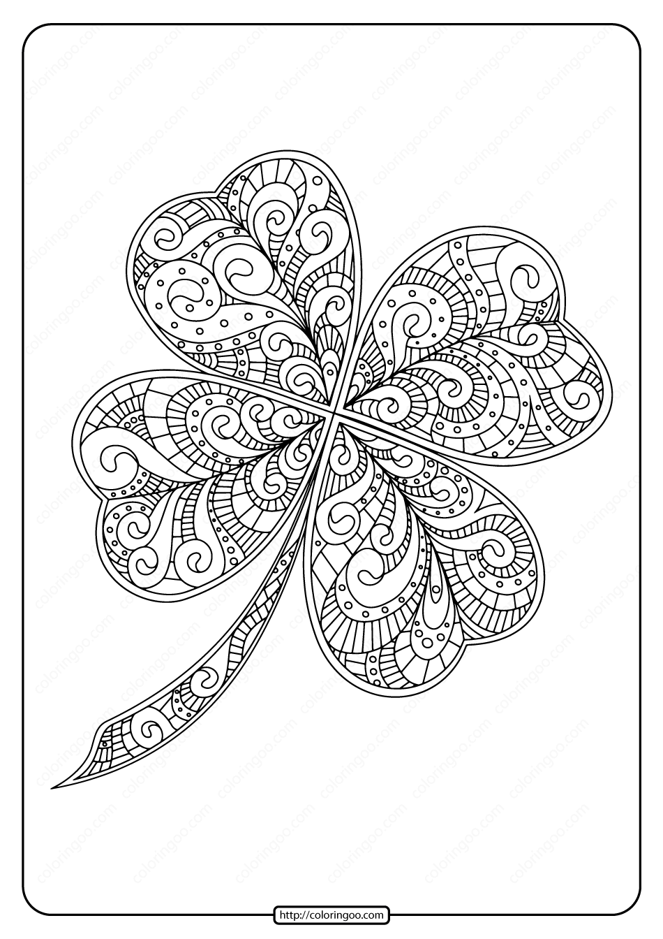Printable Zentangle Four Leaf Clover Coloring Page