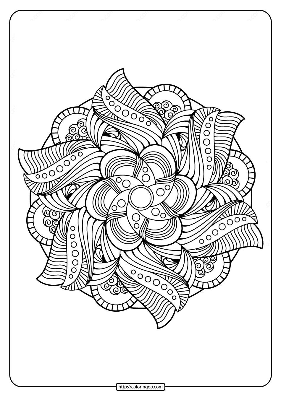 Free Printable Mandala Pattern Coloring Page 53