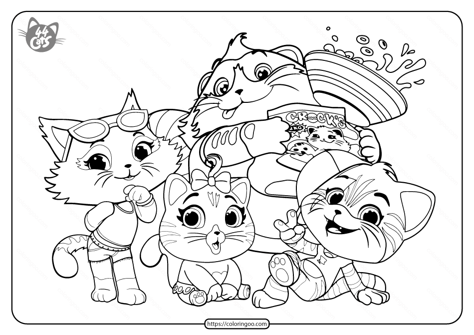 Free Printable 44 Cats Pdf Coloring Page
