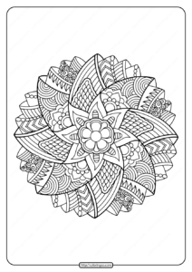 Free Printable Adult Floral Mandala Coloring Page 56