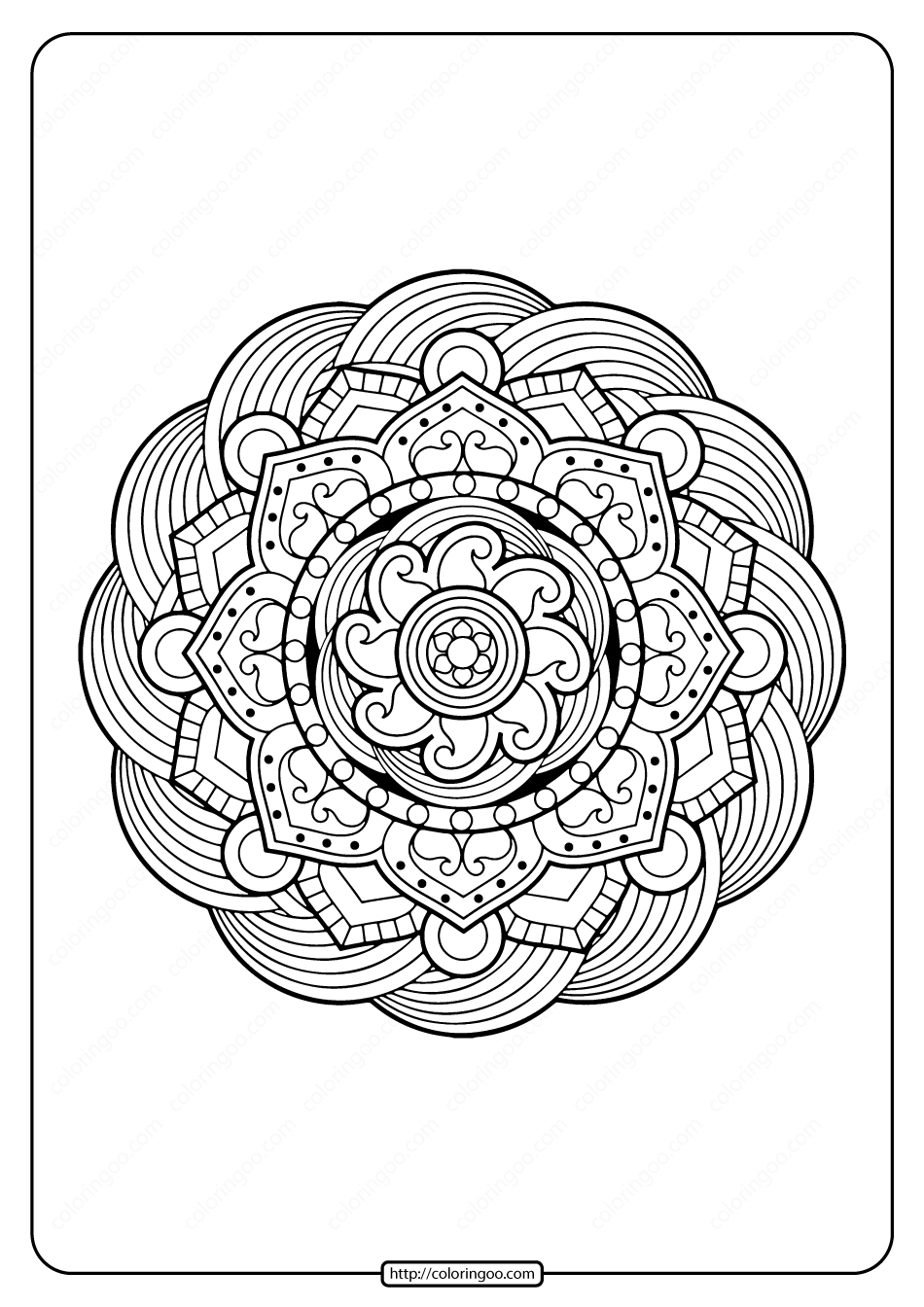 Free Printable Adult Floral Mandala Coloring Page 57