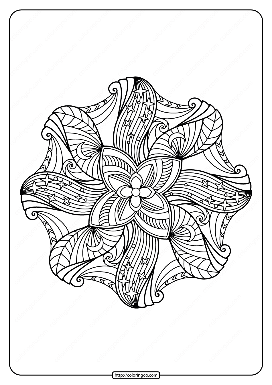 Free Printable Adult Floral Mandala Coloring Page 58