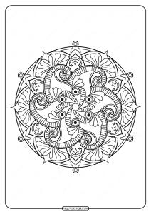 Free Printable Adult Floral Mandala Coloring Page 60