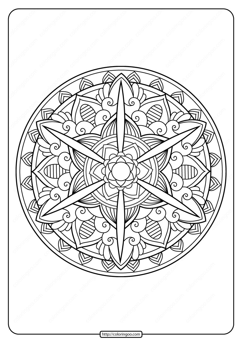 Free Printable Adult Floral Mandala Coloring Page 61